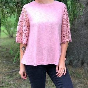 Free the Roses Pink Top with Wide Lace Sleeves